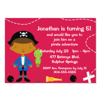 Custom Pirate and Parrot Birthday Party Card