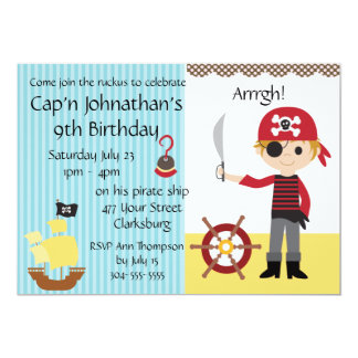 Custom Pirate Boy Birthday Party 13 Cm X 18 Cm Invitation Card