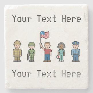 Custom Pixel American Heroes Stone Coaster