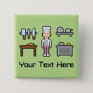 Custom Pixel Female Chef 15 Cm Square Badge