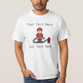 Custom Pixel Fireman T Shirts