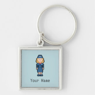Custom Pixel Flight Attendant Silver-Colored Square Key Ring