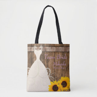 Custom PK - Team Bride In Rustic Wood Sunflower Tote Bag