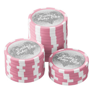 Custom Poker Chip Silver Faux Glitter Heart Floral