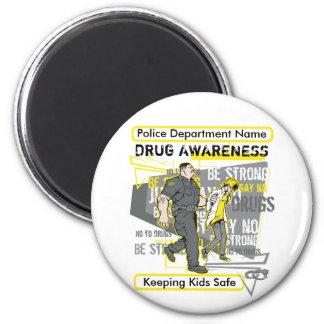 Custom Police Drug Awareness 6 Cm Round Magnet