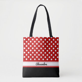 Custom Polka Dot White Red Black Base Tote Bag