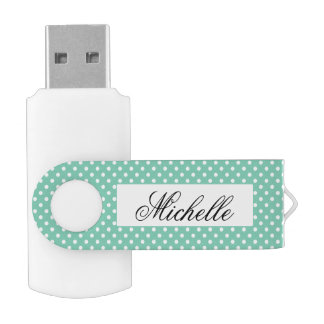 Custom polka dots pattern swivel USB flash drive
