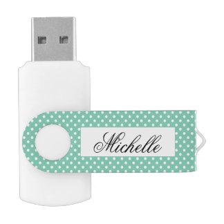 Custom polka dots pattern swivel USB flash drive
