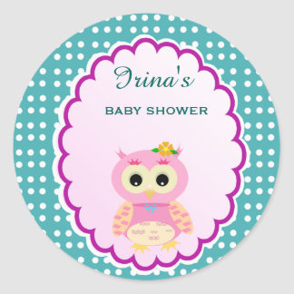 Custom Polkadot Owl Baby Shower Favor Sticker Tag