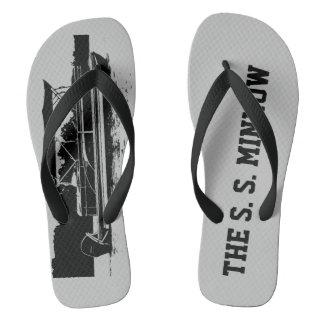 Custom Pontoon Boat Flip Flops in Gray