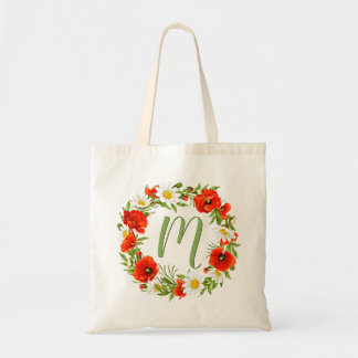 Custom Poppies Daisies Monogram Flower Wreath Tote Bag