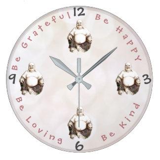 Custom Positivity Sayings   Happy Good Luck Buddha Large Clock
