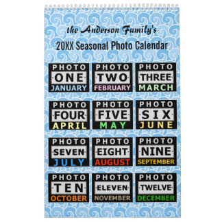 Custom Pretty Seasonal Family Photo Personal 2017 Wall Calendar