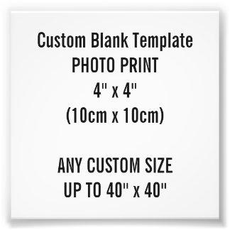 "Custom Print 4"" x 4"" Photo Print Blank Template"