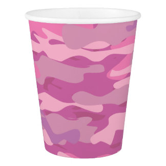 Custom print pink army camo camouflage paper cups