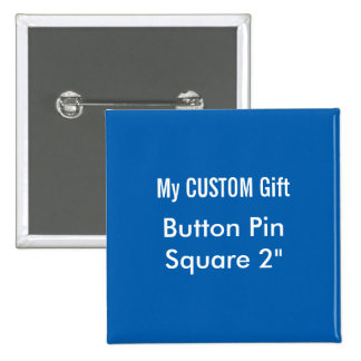 "Custom Printed 2"" Square Button Badge Pin BLUE"