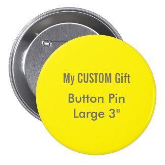 "Custom Printed 3"" Large Button Badge Pin YELLOW"