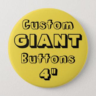 "Custom Printed GIANT 4"" Button Pin YELLOW"