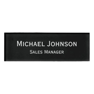 Custom Professional Executive Plain Black Magnetic Name Tag