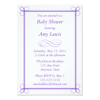 Custom Purple Baby Shower Invitation