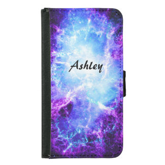 Custom Purple Blue Galaxy Galaxy S5 Wallet Case