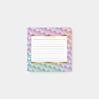 Custom Purple Blue Green Gold Mermaid Scales 3x3 Post-it Notes