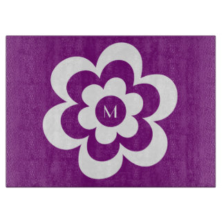 Custom Purple Cutting Board With White Flower