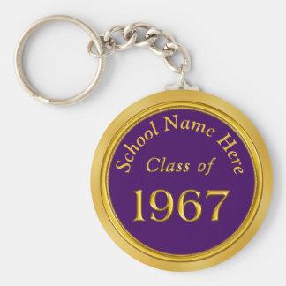 Custom Purple, Gold 1967 High School Reunion Gifts Key Ring