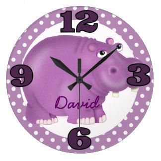 Custom Purple Hippopotamus Wall Clock