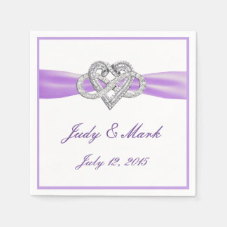 Custom Purple Infinity Heart Paper Napkins