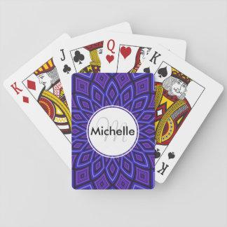 Custom Purple Kaleidoscope Pattern Playing Cards