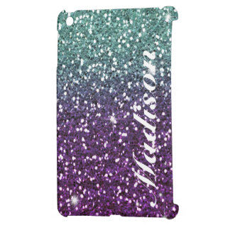 Custom Purple ombre girly glitter Ipad Mini case