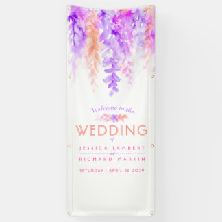 Custom purple orange wedding art welcome banner