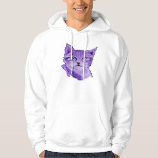 Custom purple painted cat with blue eyes hooded sweatshirts