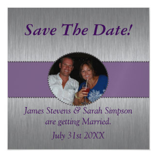Custom Purple & Silver Save The Date Magnet Magnetic Invitations