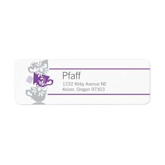 Custom Purple Tea Return Address Label