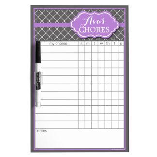 Custom Purple Trellis Chore Chart Dry Erase Board