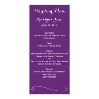 Custom Purple Wedding Menu Cards Rack Card Design