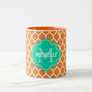 Custom quatrefoil monogram Two-Tone coffee mug