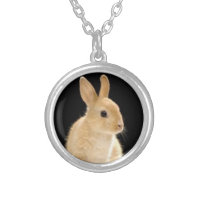 Custom Rabbit Small Siver Plated Round Necklace