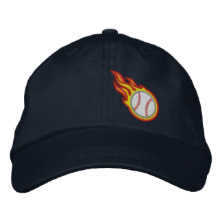 Custom Racing Flames Baseball Bullet Badge Embroidered Hat