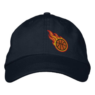 Custom Racing Flames Basketball Bullet Badge Embroidered Baseball Cap