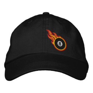 Custom Racing Flames Eight ball Bullet Badge Embroidered Hat