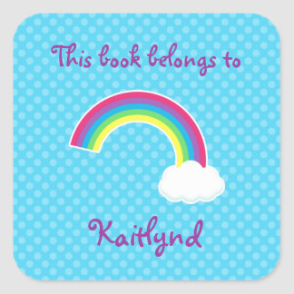Custom Rainbow and Cloud Book Labels Square Sticker