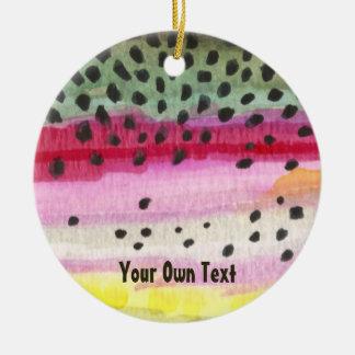 Custom Rainbow Trout Skin Fly Fishing Ceramic Ornament