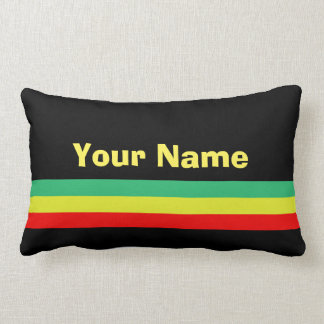 Custom Rasta-Striped Home Decor Lumbar Cushion