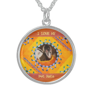Custom Rat Photo I Love my Pet Rats Sterling Silver Necklace
