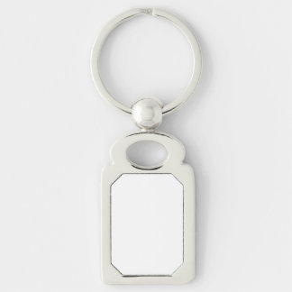 Custom Rectangle Keychain Silver-Colored Rectangle Key Ring