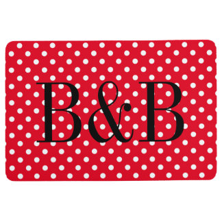Custom red and white polka dot pattern floor mat