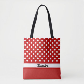 Custom red and white polka dots red base tote bag